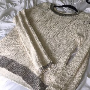 Anthropologie cream sweater with silver lining